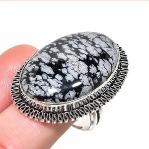 Snowflake ObsidianSilver Ring. Size 8.50